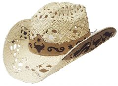 Modestone Straw Cowboy Hat Breezer Metal Bull Pattern Appliques Brim Beige