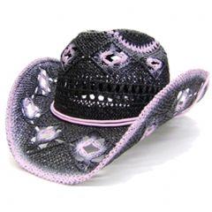 Modestone Women's Open Weave Straw Cowboy Hat Black Pink
