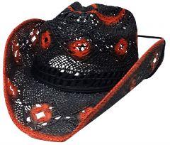 Modestone Women's Open Weave Straw Cowboy Hat Black Orange