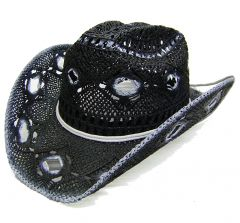 Modestone Men's Straw Cowboy Hat Black White