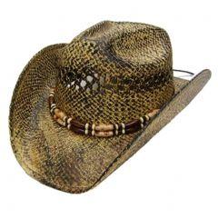 Modestone Men's Cool Straw Cowboy Hat Light Yellow Black