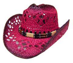 Modestone Women's Straw Cowboy Hat Red Black