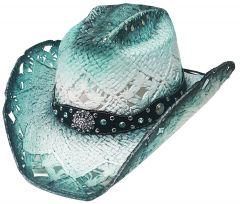 Modestone Straw Cowboy Hat Breezer Metal Concho Studs Hatband Blue