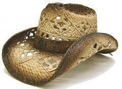 Modestone Men's Straw Cowboy Hat Sheriff Star Tan & Brown