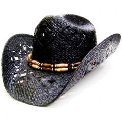 Modestone Men's Straw Cowboy Hat Black