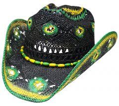 Modestone Men's St Patrick's Day Favorite Straw Cowboy Hat Green & Black
