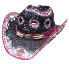 Modestone Women's Straw Cowboy Hat White Fuchsia Black
