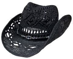 Modestone Men's Straw Cowboy Hat Black