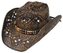Modestone Men's Straw Cowboy Hat Brown Dark Brown