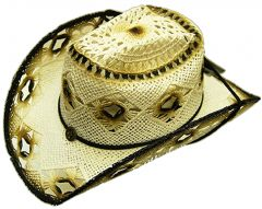 Modestone Women's Summery Cool Straw Cowboy Hat White Black