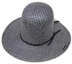 Modestone Boy's Straw Cowboy Hat ''Make Your Own Shape'' Black/White 2-Tone