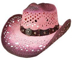 Modestone Straw Cowboy Hat Breezer Crocodile Skin Pattern Hatband Pink