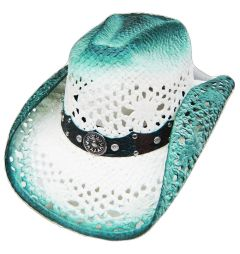 Modestone Straw Cowboy Hat Breezer Crocodile Skin Pattern Hatband White Blue