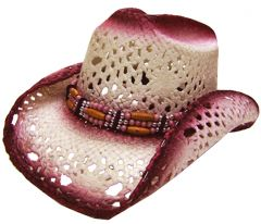 Modestone Women's Straw Cowboy Hat Cranberry Off-white