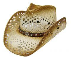 Modestone Men's Straw Cowboy Hat Conchos Brown & Beige