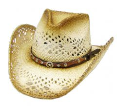 Modestone Men's Straw Sheriff Star Concho Cowboy Hat Tan Brown