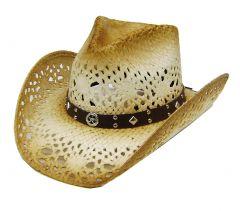 Modestone Men's Sheriff Star Concho Straw Cowboy Hat Tan Brown