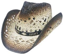 Modestone Straw Cowboy Hat Breezer Metal Concho Studs Hatband Beige