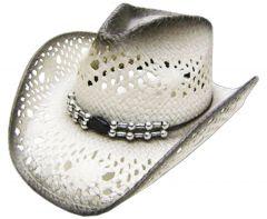 Modestone Men's Straw Cowboy Hat Grey & Light Grey