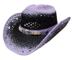 Modestone Women's Straw Cowboy Hat Purple
