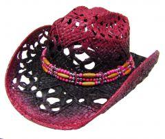 Modestone Women's Straw Cowboy Hat Fushia Purple