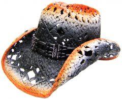 Modestone Men's Straw Cowboy Hat Orange & Black