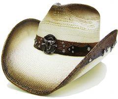Modestone Men's Straw Cowboy Hat Bull Head Brown & Beige
