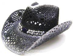 Modestone Men's Straw Cowboy Hat Black & silver
