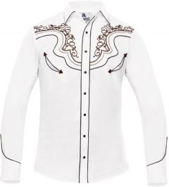 Modestone Men's Fitted Western Shirt Filigree Embroidered White