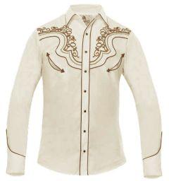 Modestone Men's Long Sleeved Shirt Western Filigree Embroidered Beige