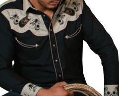 Modestone Men's Long Sleeved Shirt Filigree Cowboy Hats Embroidered Black