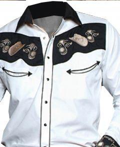 Modestone Men's Long Sleeve Western Shirt Filigree Cowboy Hats Embroidered White