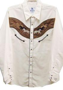 "Modestone Men's Embroidered Long Sleeved Shirt 8 Horses ""Super Suede"" Beige"
