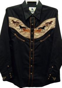 "Modestone Men's Embroidered Long Sleeved Shirt 8 Horses ""Super Suede"" Black"