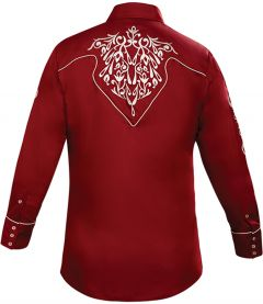 Modestone Men's Embroidered Filigree Long Sleeved Fitted Western Shirt Wine
