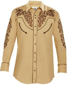 Modestone Men's Embroidered Filigree Long Sleeved Fitted Western Shirt Mustard