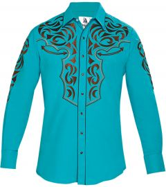 Modestone Men's Embroidered Filigree Long Sleeved Fitted Western Shirt Turquoise