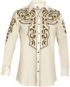 Modestone Men's Embroidered Filigree Long Sleeved Fitted Western Shirt Beige