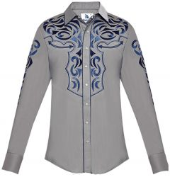Modestone Men's Embroidered Filigree Long Sleeved Fitted Western Shirt Grey