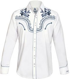 Modestone Men's Embroidered Filigree Long Sleeved Fitted Western Shirt White