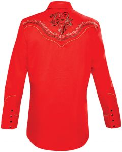 Modestone Men's Embroidered Filigree Long Sleeved Fitted Western Shirt Red