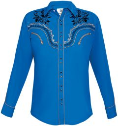 Modestone Men's Embroidered Filigree Long Sleeved Fitted Western Shirt Blue