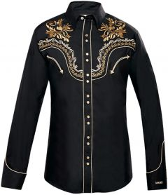 Modestone Men's Embroidered Filigree Long Sleeved Fitted Western Shirt Black