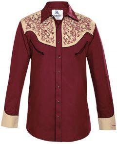 Modestone Men's Embroidered Horseshoe Filigree Fitted Western Shirt Wine