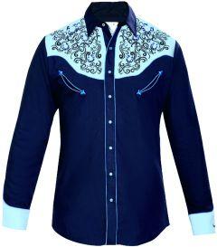 Modestone Men's Embroidered Horseshoe Filigree Fitted Western Shirt Blue