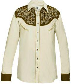 Modestone Men's Embroidered Horseshoe Filigree Fitted Western Shirt Beige