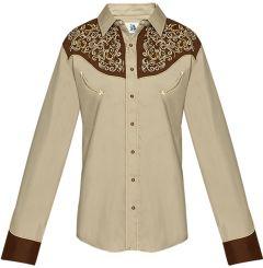 Modestone Men's Embroidered Horseshoe Filigree Fitted Western Shirt Khaki