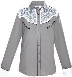 Modestone Men's Embroidered Horseshoe Filigree Fitted Western Shirt Grey