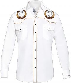 Modestone Men's Embroidered Horse Horseshoe Fitted Western Shirt White
