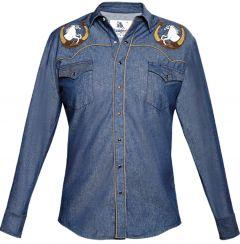 Modestone Men's Embroidered Horse Horseshoe Fitted Western Shirt Blue Denim